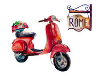Watercolor Vintage Hippie travel scooter,  isolated on white Stock Photo