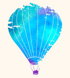 Watercolor_vintage_hot_air_balloon_Celebration_festive_backgroun 库存照片