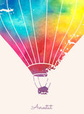 Watercolor vintage hot air balloon.Celebration festive backgroun. D with balloons.Perfect for invitations,posters and cards Royalty Free Stock Photo