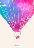 Watercolor vintage hot air balloon.Celebration festive backgroun. D with balloons.Perfect for invitations,posters and cards Royalty Free Stock Photos