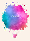Watercolor vintage hot air balloon.Celebration festive backgroun. D. Perfect for invitations,posters and cards Stock Images