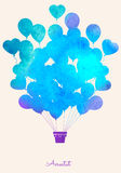 Watercolor vintage hot air balloon Celebration festive background Royalty Free Stock Images