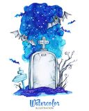 Hand painted old gravestone at halloween`s night. Spooky landscape. Watercolor vintage illustration. Hand painted old gravestone at halloween`s night. Spooky stock illustration