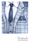 Watercolor vintage illustration. Hand painted suit in fashion concept. Style man. Royalty Free Stock Images
