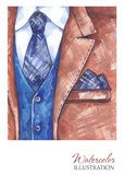 Watercolor vintage illustration. Hand painted suit in fashion concept. Style man. Ready for print, poster, fashion design, greeting card stock illustration