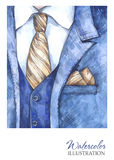 Watercolor vintage illustration. Hand painted suit in fashion concept. Style man. Stock Photo