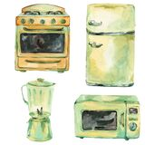 Watercolor vintage kitchen utensils clipart, watercolor refrigerator, stove, microwave