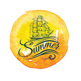 Watercolor vintage label with a ship and hand lettering. Stock Photos