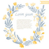 Watercolor Vintage Leaf and Flowers round frame. Royalty Free Stock Photo