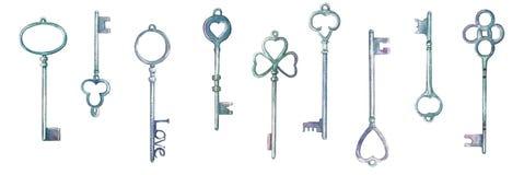 Watercolor vintage metal keys drawn by hands