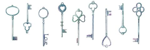 Watercolor vintage metal keys drawn by hands royalty free illustration