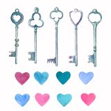 Watercolor vintage metal keys drawn by hands and pink, blue hearts stock illustration