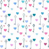 Watercolor vintage metal keys drawn by hands and pink, blue hearts seamless pattern royalty free illustration