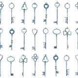 Watercolor vintage metal keys drawn by hands seamless pattern royalty free illustration