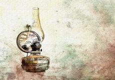 Watercolor vintage old oil lamp Stock Photo