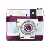 Watercolor vintage photo camera isolated. Watercolor vintage photo camera isolited on white background. Retro film camera. Passion for photography. Watercolor Stock Photography