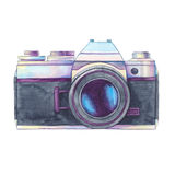 Watercolor vintage photo camera isolated. Watercolor vintage photo camera isolited on white background. Retro film camera. Passion for photography. Watercolor Royalty Free Illustration