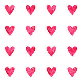 Watercolor vintage pink red vector hearts seamless pattern Stock Photos
