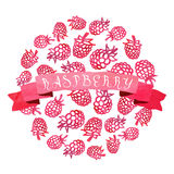 Watercolor vintage raspberry vector background with ribbon Royalty Free Stock Images