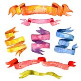 Watercolor Vintage Ribbon Set Stock Images