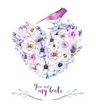 Watercolor vintage rose floral piony heart bouquet. Boho spring Royalty Free Stock Photo