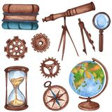 Watercolor vintage science equipment of globe, microscope, books, telescope, compass. Hand drawn illustration. School