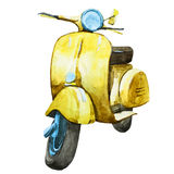 Watercolor vintage scooter Royalty Free Stock Photography