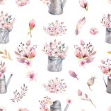 Watercolor Vintage Seamless Pattern Gardening Tools Rusty Tin Watering Can For Watering Flowers. Hand Drawn Illustration Stock Image