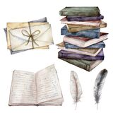 Watercolor vintage set with book, feather and envelopes. Hand painted stack of books isolated on white background