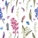 Watercolor Vintage Spring Seamless Stock Photography