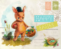 Watercolor vintage style Easter card Royalty Free Stock Images