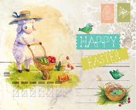 Watercolor vintage style Easter card Stock Images