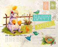 Watercolor vintage style Easter card Stock Image