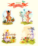 Watercolor vintage style Easter collection, cute animals Royalty Free Stock Image