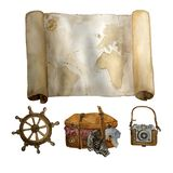 Watercolor vintage travel set of old map, sea steering wheel , leather suitecase and photo camera hand drawn isolated on royalty free stock photography