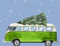 Free Watercolor Vintage VW Bus With A Christmas Tree On Top Stock Photography - 181792702