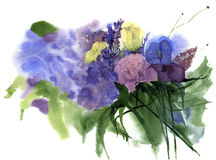 Watercolor vintage wedding bouquet of flowers with rose, lilac,carnation flower and leaves. Floral background for design Royalty Free Stock Images