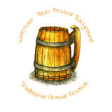 Watercolor vintage wooden mug.beer festival background Stock Photo