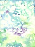 Watercolor violet, blue, green, lime green background - wet back. Ground. Torn edges, texture with gaps. Watercolor abstract background. Abstract painting Stock Photography
