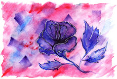 Watercolor violet crimson flower rose romantic love background Stock Image