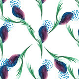 Watercolor violet floral seamless vector pattern on white Royalty Free Stock Photography