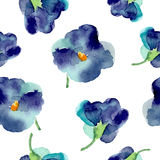Watercolor of violet flowers seamless pattern Stock Photo