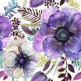 Watercolor violet flowers seamless pattern. Hand-drawn botanical illustration. vintage floral composition Stock Image