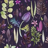 Watercolor violet flowers seamless pattern. Hand-drawn botanical illustration. vintage floral composition Royalty Free Stock Image
