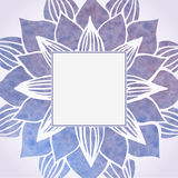 Watercolor violet frame with floral pattern. Vector element Royalty Free Stock Photography