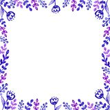 Watercolor violet leaves and flowers frame royalty free illustration