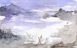 Watercolor violet moon night lake mountains landscape Royalty Free Stock Photography