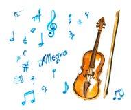 Watercolor violin Royalty Free Stock Photo