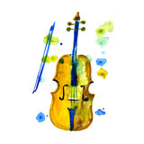 Watercolor violin on the white background, aquarelle. Stock Image