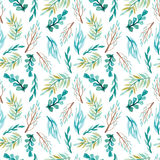 Watercolor Vivid Leaves And Branches Seamless Pattern Royalty Free Stock Photo